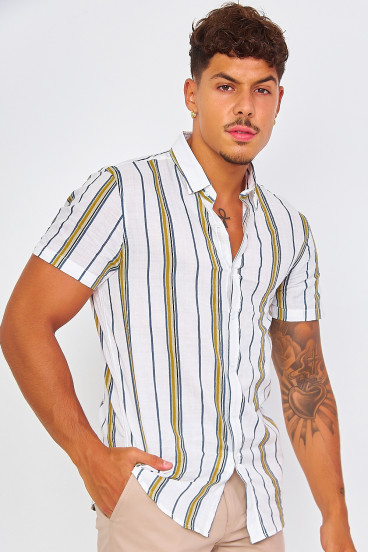 Chemise blanche rayures tricolores