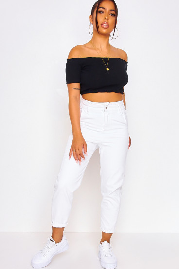 White high-rise paperbag jeans