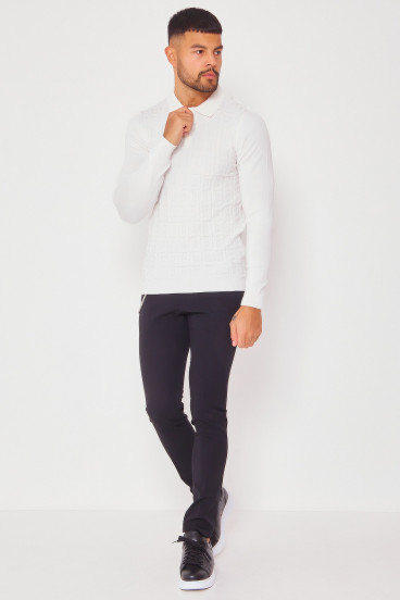 Pull blanc col polo maille en relief