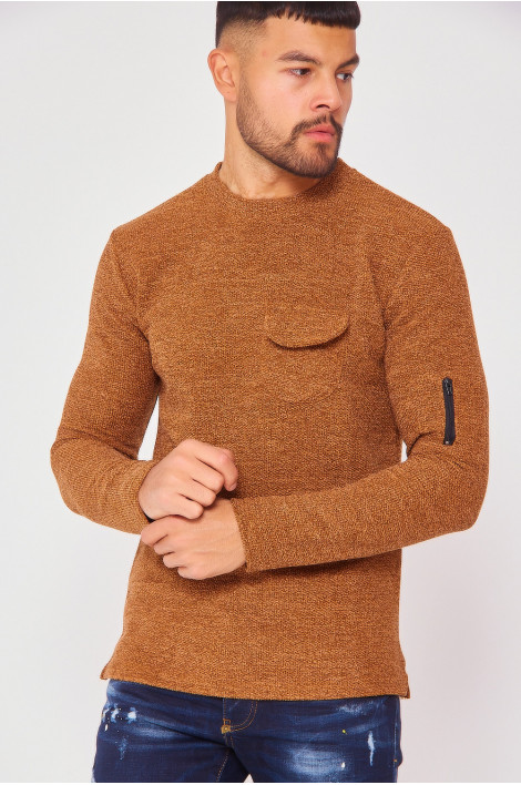 Pull camel effet maille avec poches