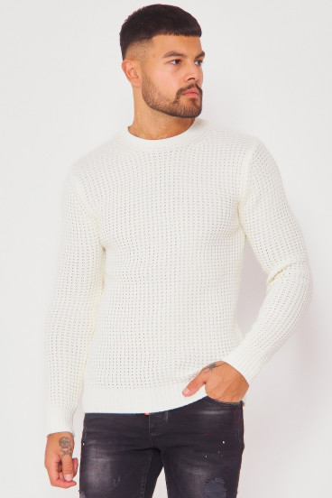Pull beige col rond à grosses mailles