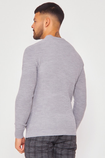 Pull gris col rond en maille à relief
