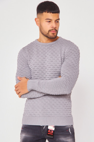 Pull gris col rond maille en relief