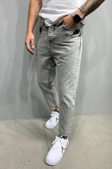 Jean Relaxed gris avec chaine