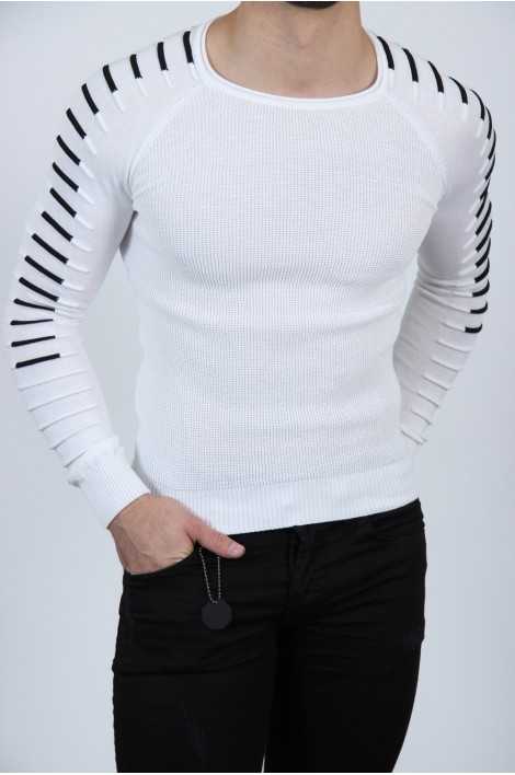 Pull fin blanc homme