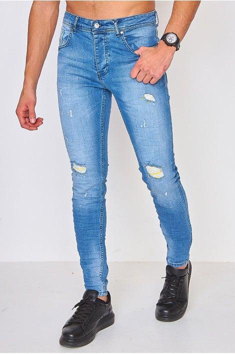 Jeans skinny bleu clair déchiré taches jaunes / Project X - TP21021