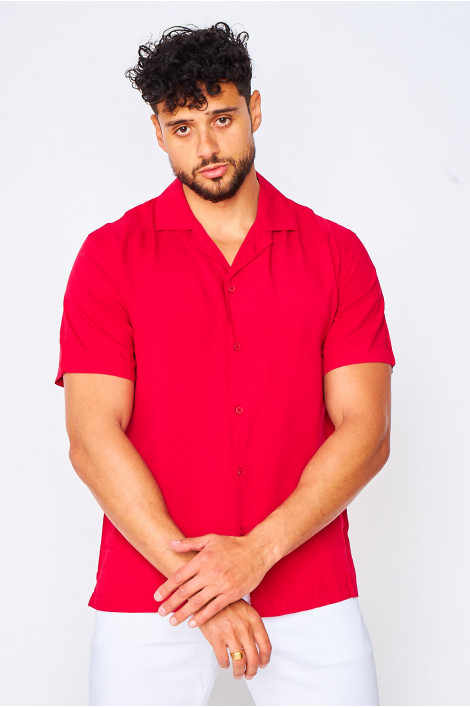 Chemise manches courtes rouge