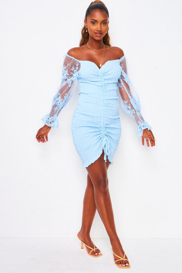 Robe bleue à froncer manches tulle