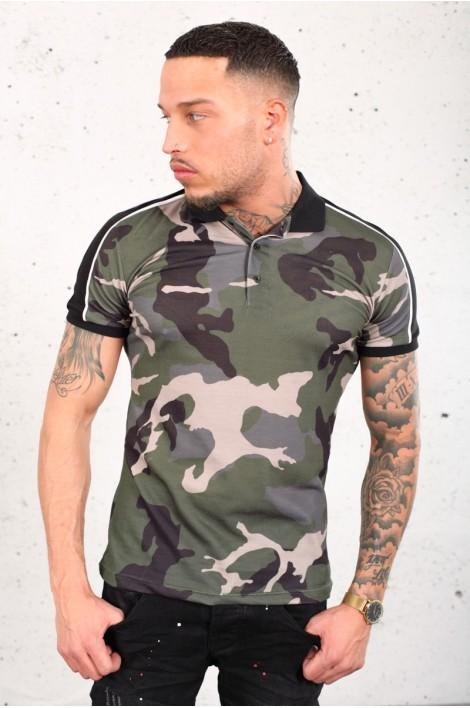 Polo camouflage à bandes