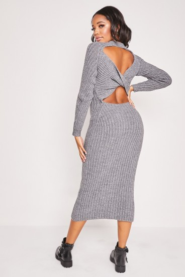 Robe pull grise longue dos nu