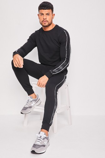 Ensemble noir sweat + jogging avec liseré