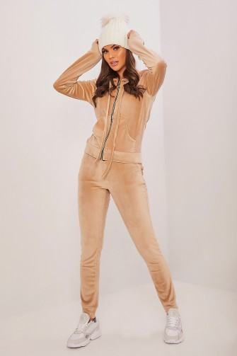 Ensemble jogging en velours beige