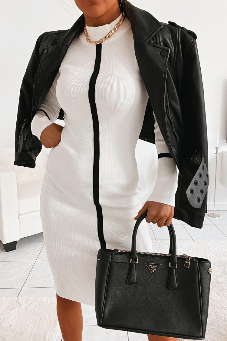 Robe Pull Noire A Bandes Blanches Brentiny Paris